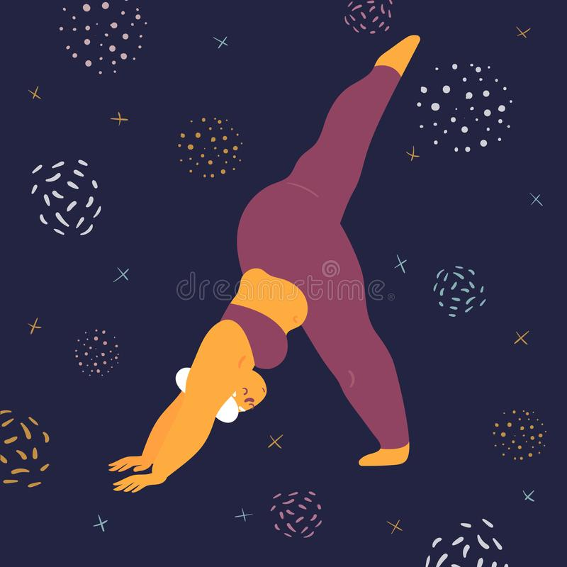 Body positive woman makes asana in the space. Body positive woman doing asana eka pada svanasana yoga. Plus size model makes asana in the space. Young girl vector illustration