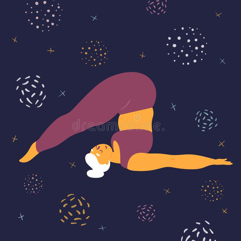 Body positive woman makes asana in the space. Body positive woman doing asana halasana yoga. Plus size model makes asana in the space. Young girl threw her legs stock illustration