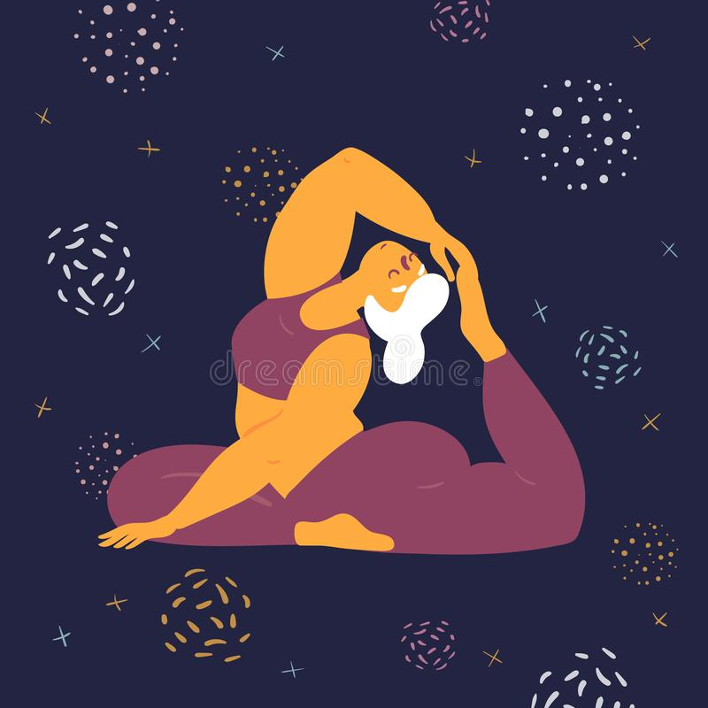 Body positive woman makes asana in the space. Body positive woman in king pigeon rajakapotasana yoga asana pose. Plus size model makes asana in the space. Young stock illustration