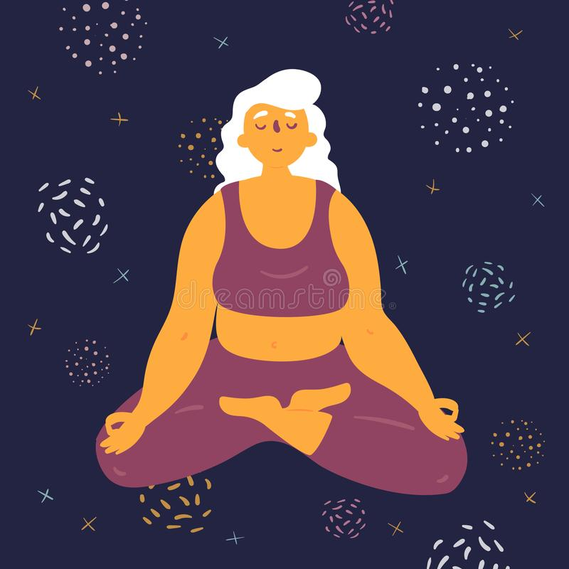 Body positive woman makes lotus asana in the space. Body positive woman in lotus pose. Plus size model makes asana in the space. Young girl crossed her legs and royalty free illustration