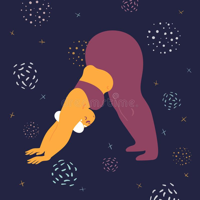 Body positive woman is stretching in the space. Body positive woman is stretching. Plus size model makes asana in the space. Young girl bent down to her legs vector illustration