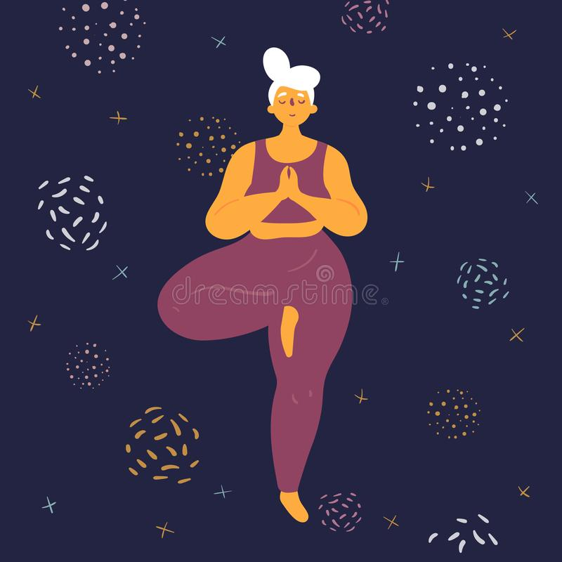 Body positive woman in tridasana yoga position. Body positive woman doing tridasana yoga. Plus size model makes asana in the space. Young girl stands on one leg royalty free illustration