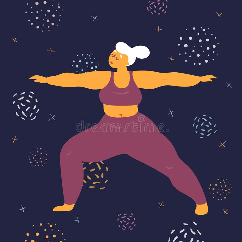 Body positive woman makes asana in the space. Body positive woman in warrior virabhadrasana asana yoga pose. Plus size model makes asana in the space. Young girl stock illustration