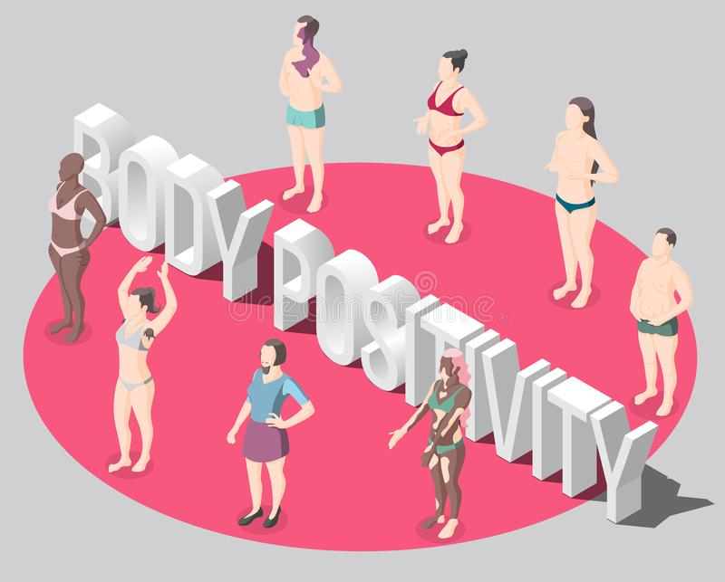 Body Positivity Isometric Poster royalty free illustration