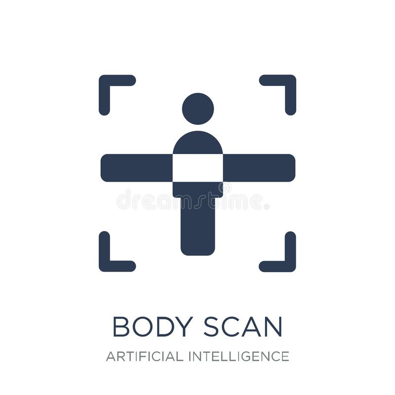 Body scan icon. Trendy flat vector Body scan icon on white backg stock illustration