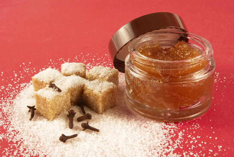 Body scrub with brown sugar,spiciness l stock image