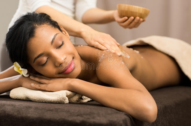 Body scrub at spa stock images