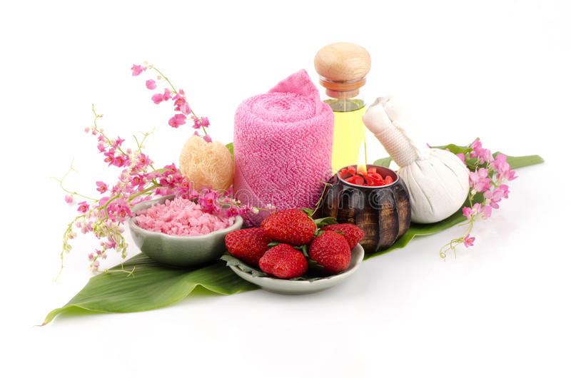Body Scrub with Strawberry, sea salt and olive oil. (For dry skin). Spa with natural ingredients royalty free stock photos