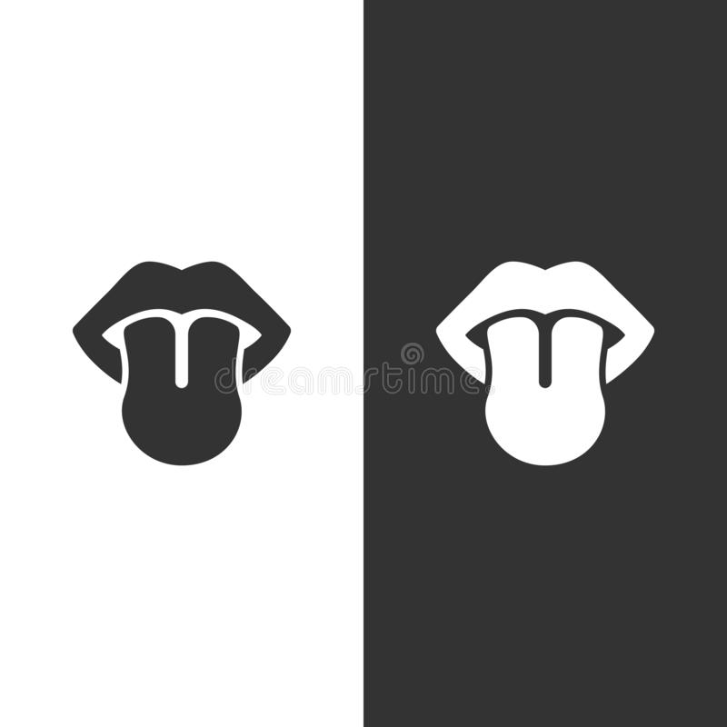 Body senses taste. Tongue icon on black and white background. Vector illustration royalty free illustration