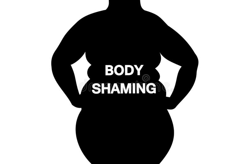 Body shaming. Fat and obese woman body is labelled with body-shaming sign. Negative body image because of overweight and ugly figure. Assault and attack stock illustration