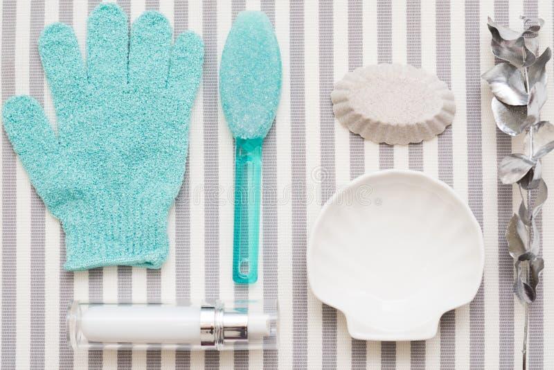 Body skin treatment pumice stone bath glove royalty free stock images