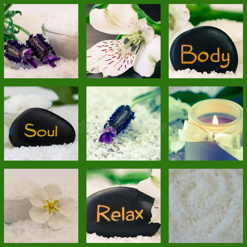 Body, soul, relax. Collage of black lava stones with words royalty free stock images