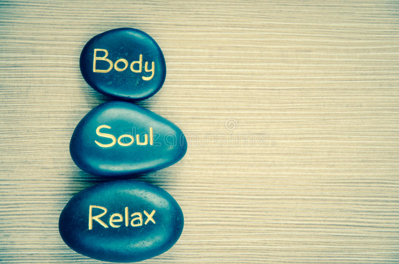 Body soul relax lava stone. Background filtered retro effect stock image