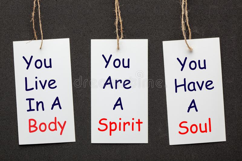 Body, Soul and Spirit. Paper labels set on black background. Business concept royalty free stock image