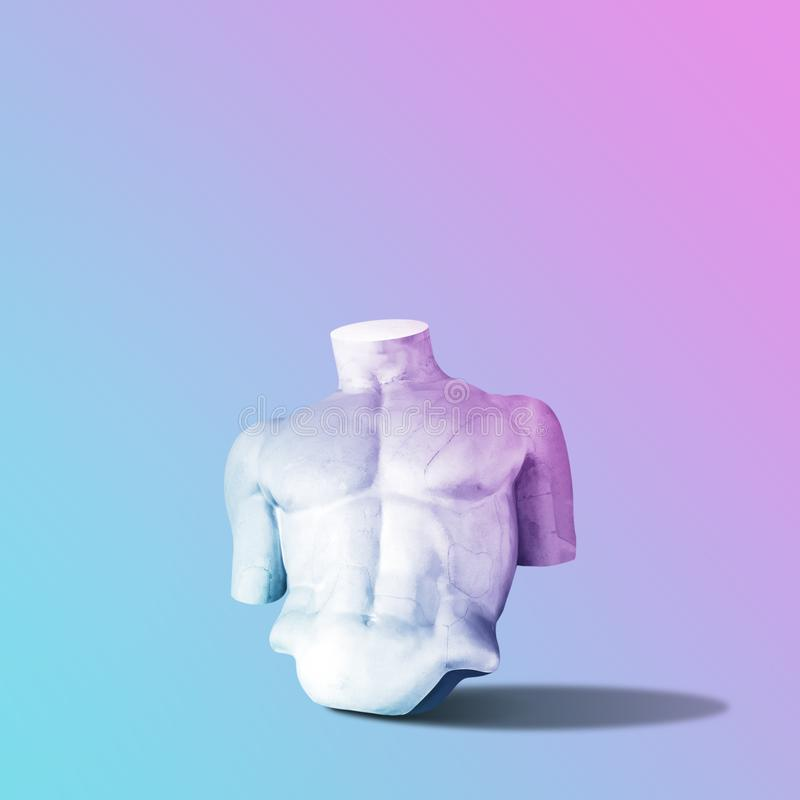 Body of statue in bold pink and blue neon colors on gradient background. stock images