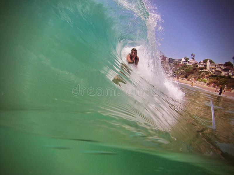 Body Surfer in Ocean Wave royalty free stock photo