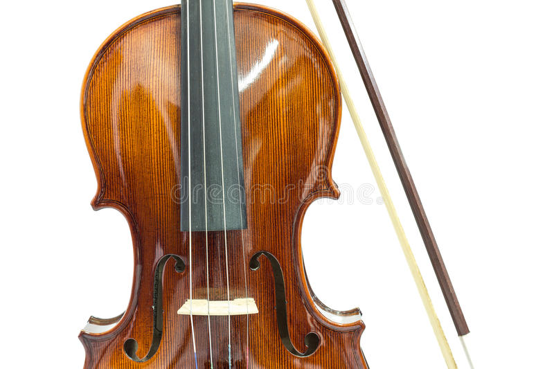 Body of violin. Violin and bow on a white background royalty free stock photography