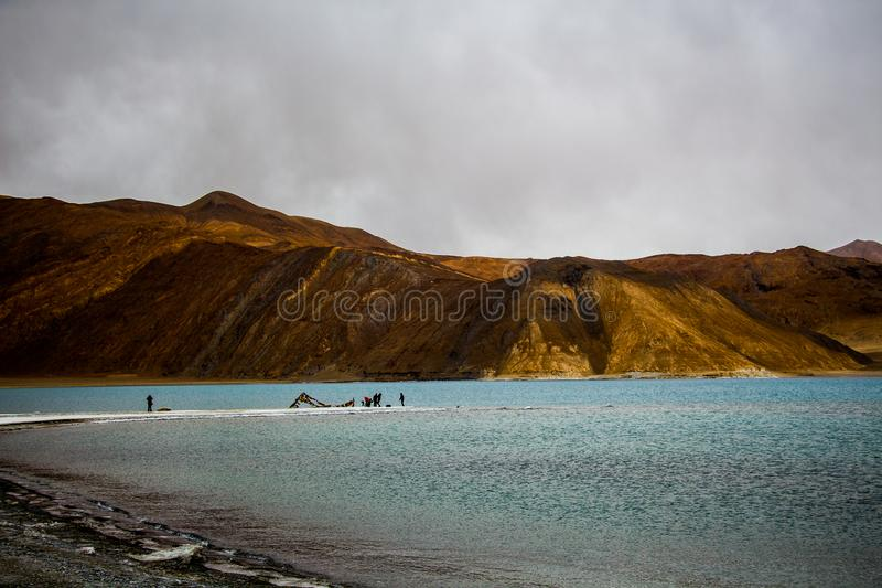 Body of Water With Mountain Ahead royalty free stock images