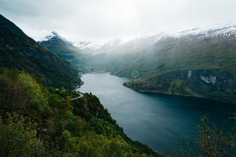 Body of Water Between Mountain Formation royalty free stock photos