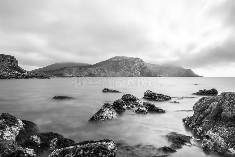 Body Of Water And Mountain In Greyscale Photography Free Public Domain Cc0 Image