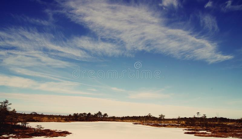 Body of Water Near Trees Under Blue and White Skies stock photography