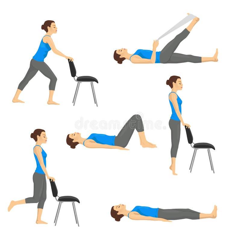 Body workout exercise fitness training set. Knee exercises vector illustration