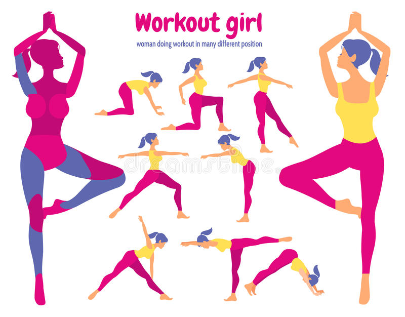 Body workout set. Pack of body parts. Woman doing fitness stock illustration