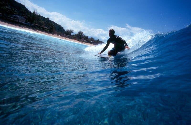 Bodyboarding Hawaii lizenzfreie stockbilder