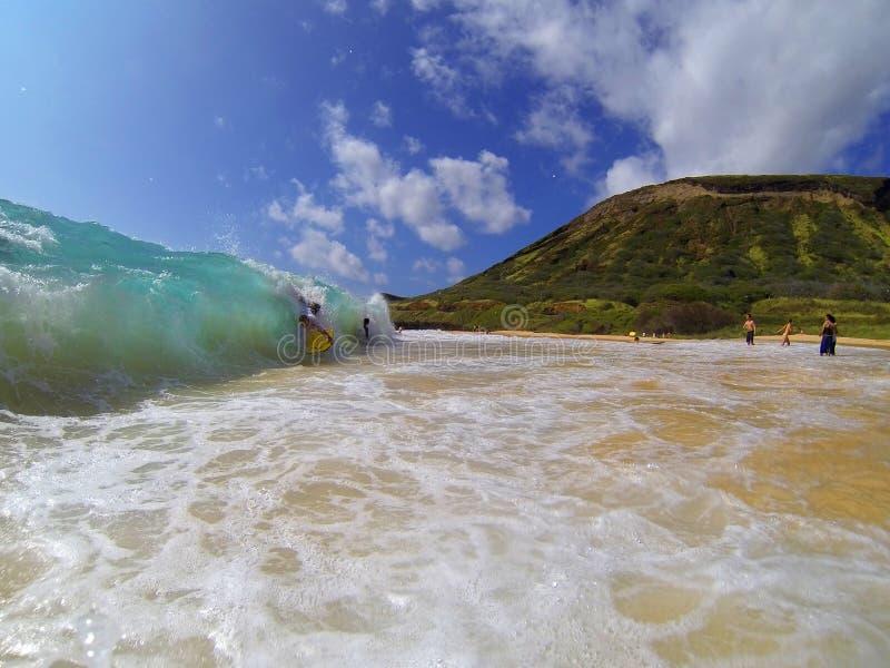 Bodyboarding Sandy Beach Hawaii stock photos