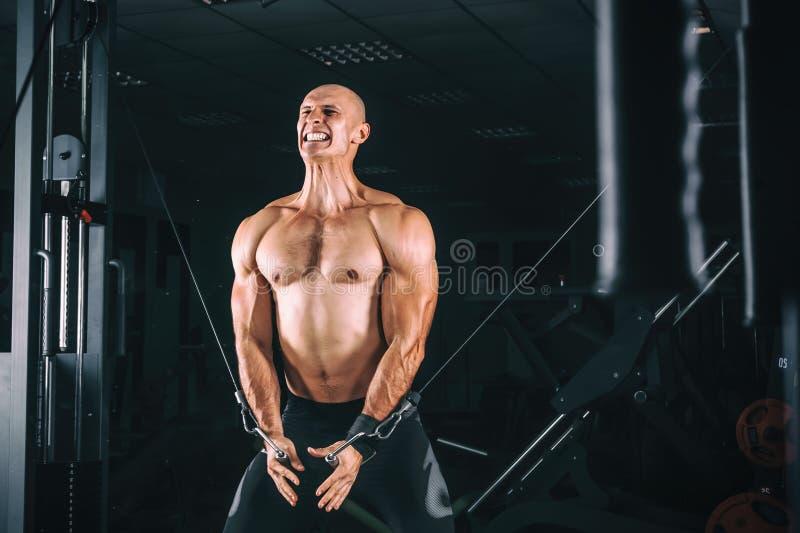 Bodybuider展示在健身房的天桥锻炼 免版税库存照片