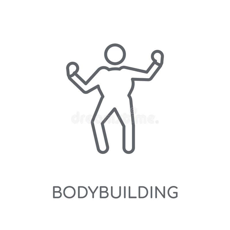 bodybuildende lineare Ikone Bodybuildendes conce Logo des modernen Entwurfs lizenzfreie abbildung