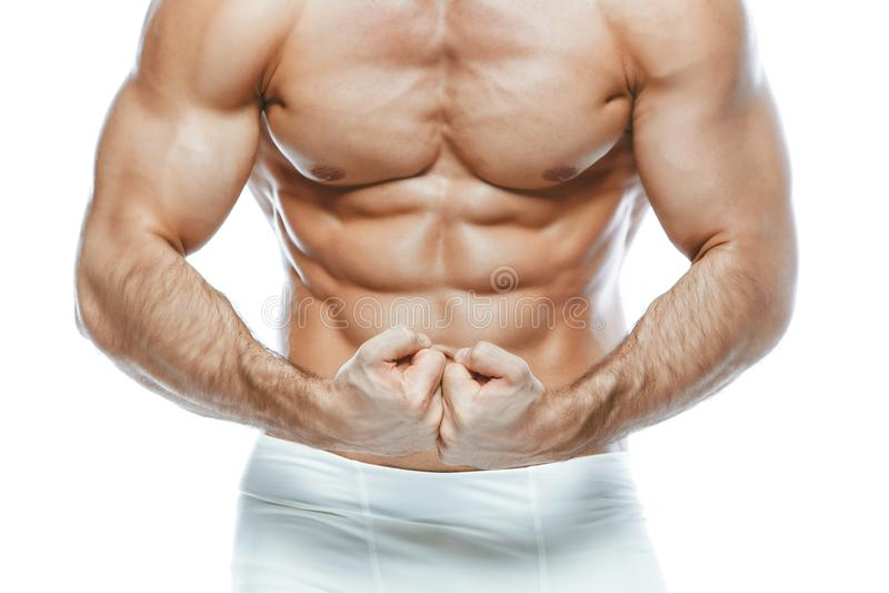 bodybuilder θέτοντας Όμορφη φίλαθλη αρσενική δύναμη τύπων Άσπρο lingerie manin ικανότητας muscled Στο απομονωμένο άσπρο υπόβαθρο στοκ εικόνες με δικαίωμα ελεύθερης χρήσης