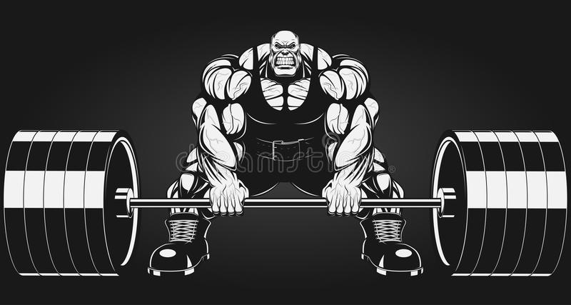 Bodybuilder με ένα barbell απεικόνιση αποθεμάτων
