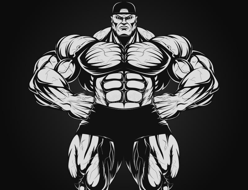 Bodybuilder με τον αλτήρα ελεύθερη απεικόνιση δικαιώματος