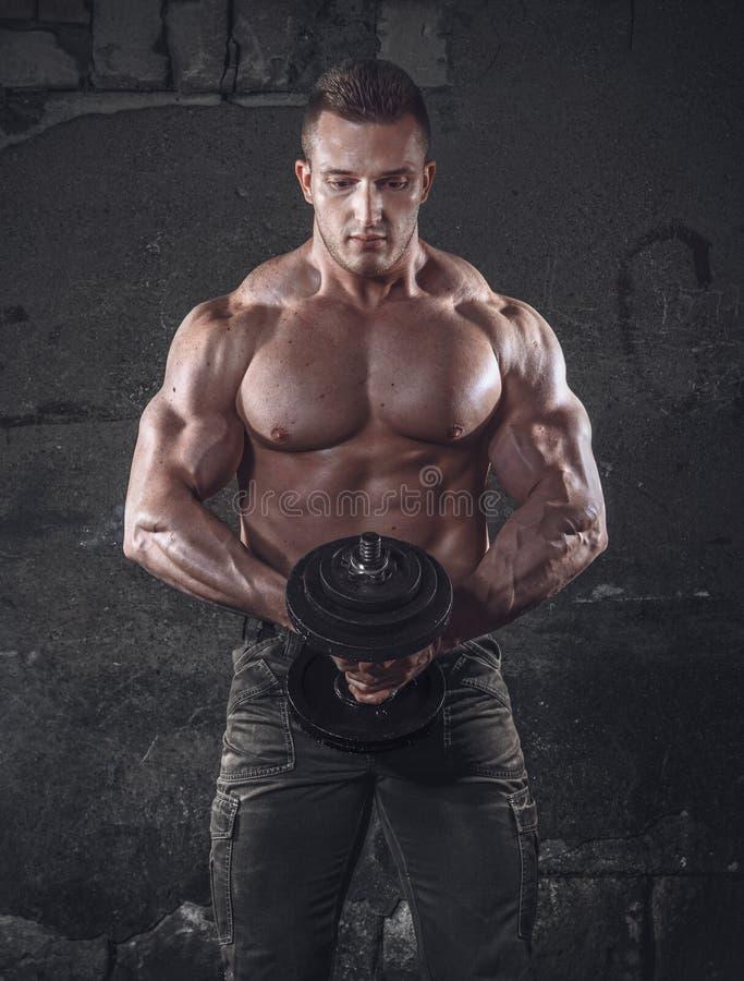 Bodybuilder με το βάρος στοκ εικόνες με δικαίωμα ελεύθερης χρήσης
