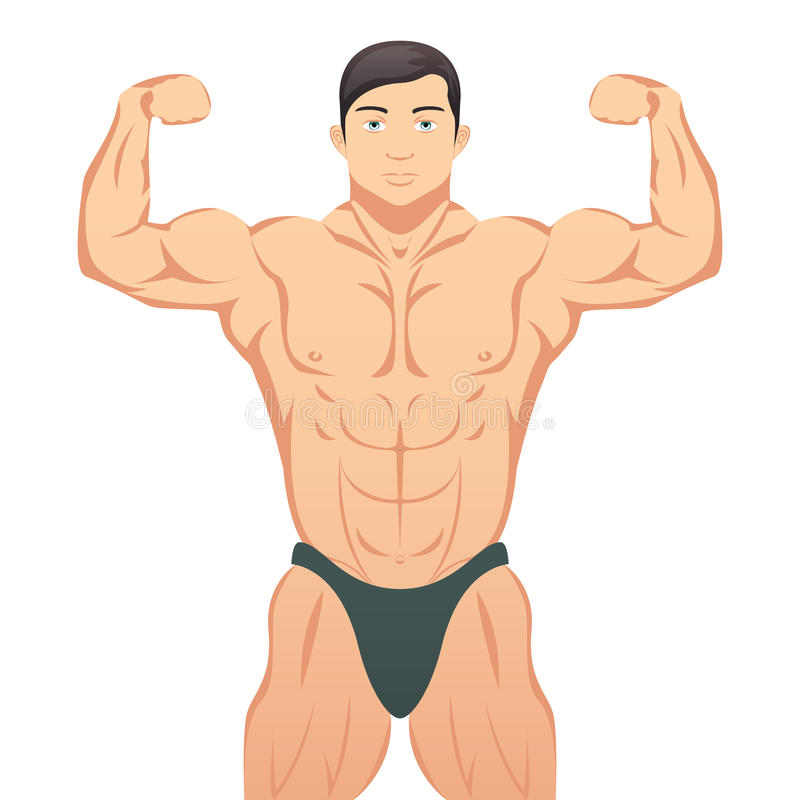 Bodybuilder που παρουσιάζει μυς διανυσματική απεικόνιση