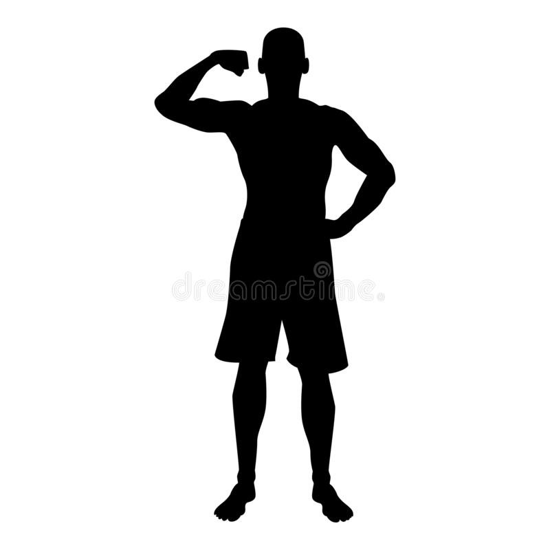 Bodybuilder που παρουσιάζει στη σκιαγραφία αθλητικής έννοιας Bodybuilding μυών δικέφαλων μυών εικονίδιο μπροστινής άποψης μαύρη έ απεικόνιση αποθεμάτων
