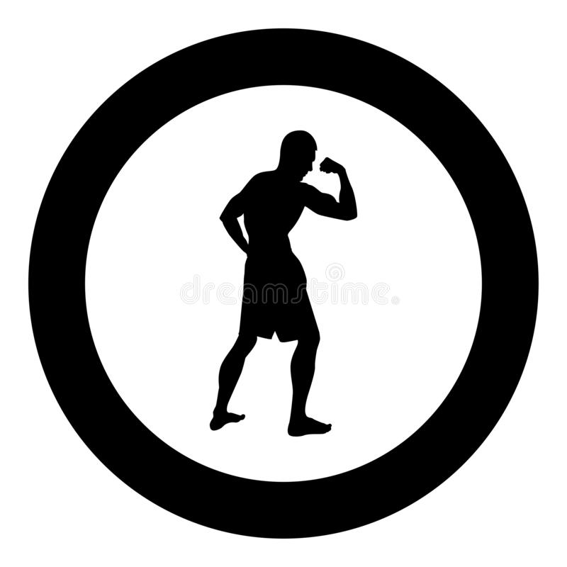 Bodybuilder που παρουσιάζει στη σκιαγραφία αθλητικής έννοιας Bodybuilding μυών δικέφαλων μυών εικονίδιο πλάγιας όψης μαύρη έγχρωμ διανυσματική απεικόνιση