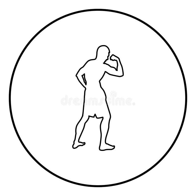 Bodybuilder που παρουσιάζει στη σκιαγραφία αθλητικής έννοιας Bodybuilding μυών δικέφαλων μυών εικονίδιο πλάγιας όψης μαύρη έγχρωμ απεικόνιση αποθεμάτων