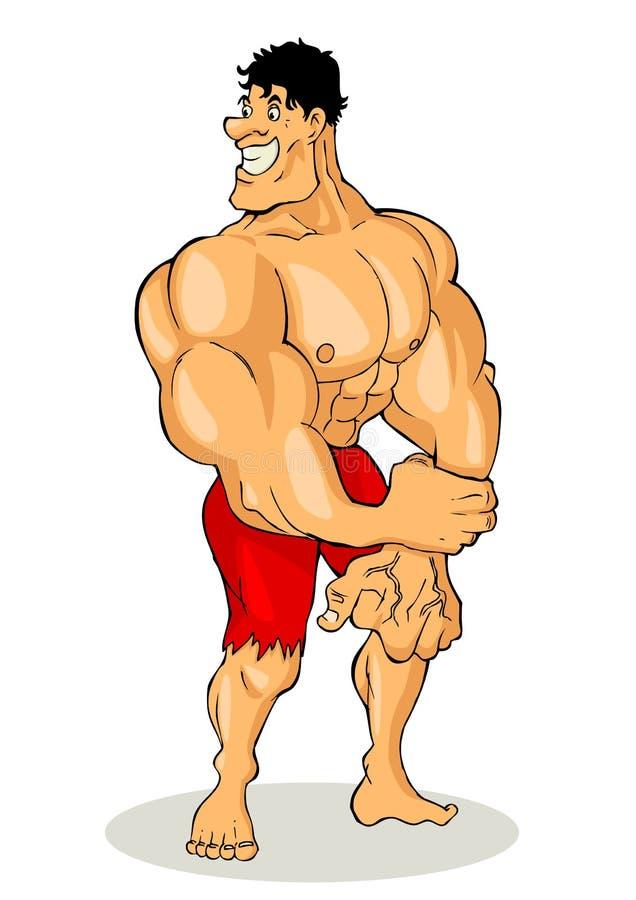 Bodybuilder. Cartoon illustration of a muscular man figure royalty free illustration