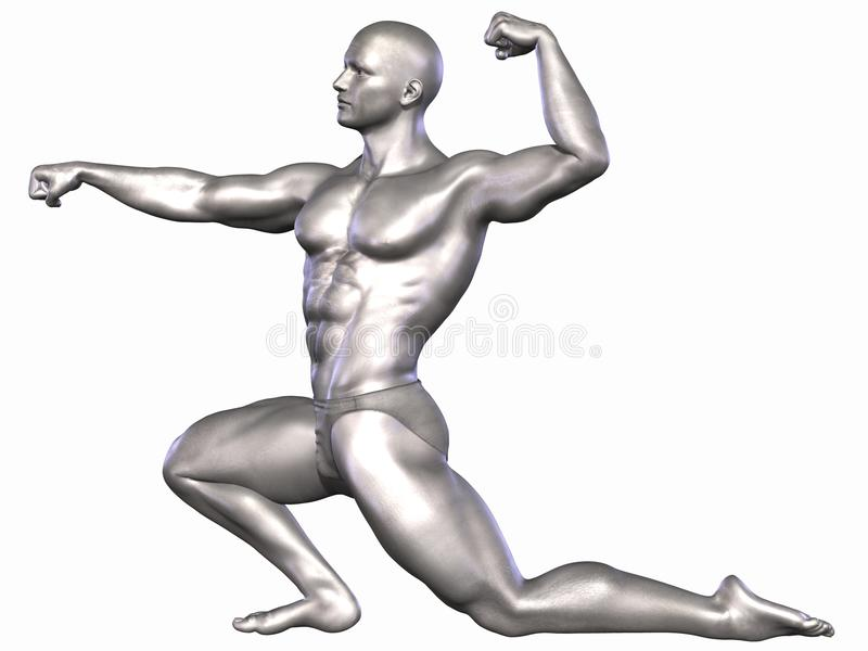 Bodybuilder argenté illustration stock