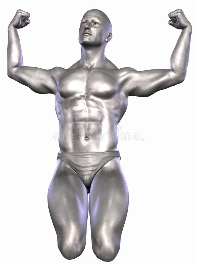 Bodybuilder argenté illustration libre de droits