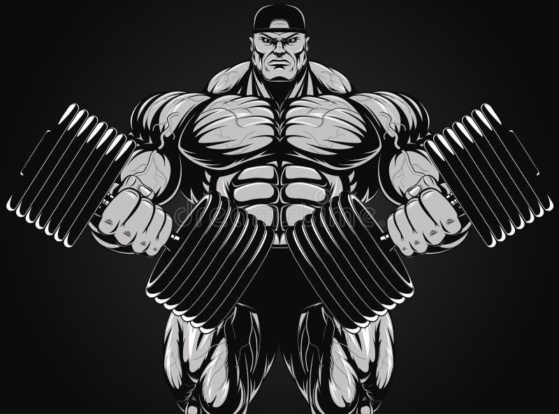 Bodybuilder avec l'haltère illustration de vecteur