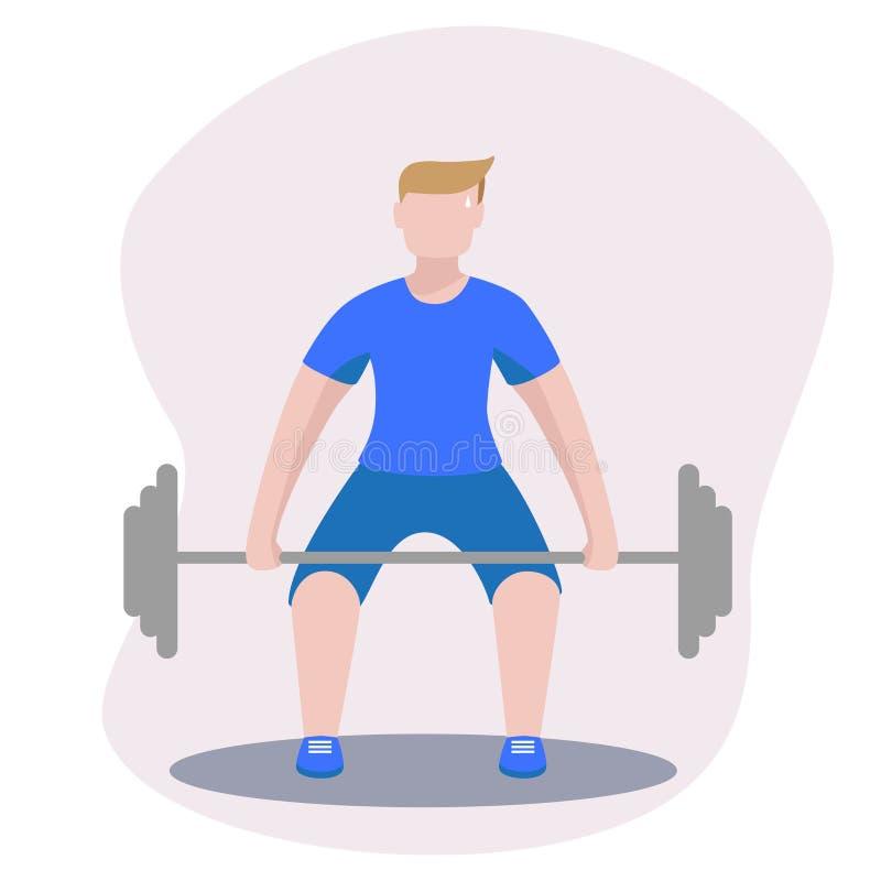 Bodybuilder avec l'illustration d'image de vecteur de deadlift de barbell illustration stock