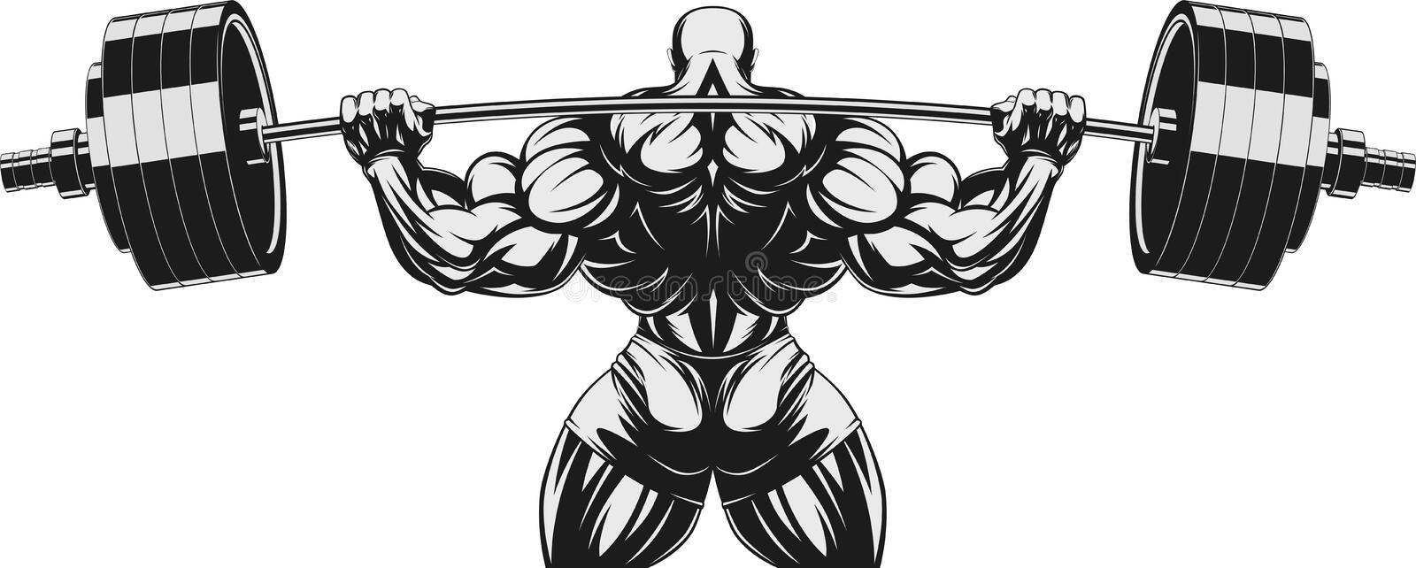 Bodybuilder avec le barbell n illustration de vecteur