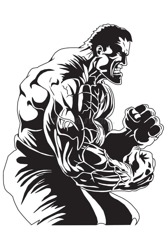 Bodybuilder avec les veines sur ses mains illustration de vecteur