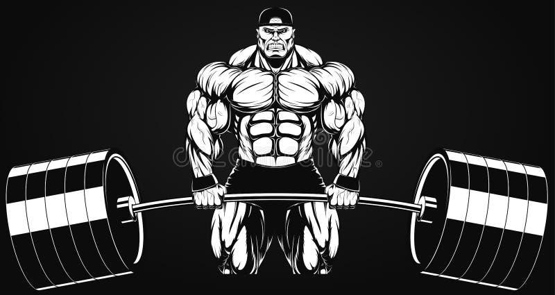 Bodybuilder avec un barbell illustration de vecteur