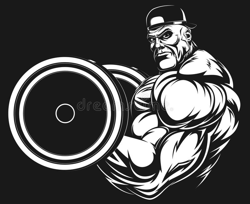 Bodybuilder avec un barbell illustration libre de droits