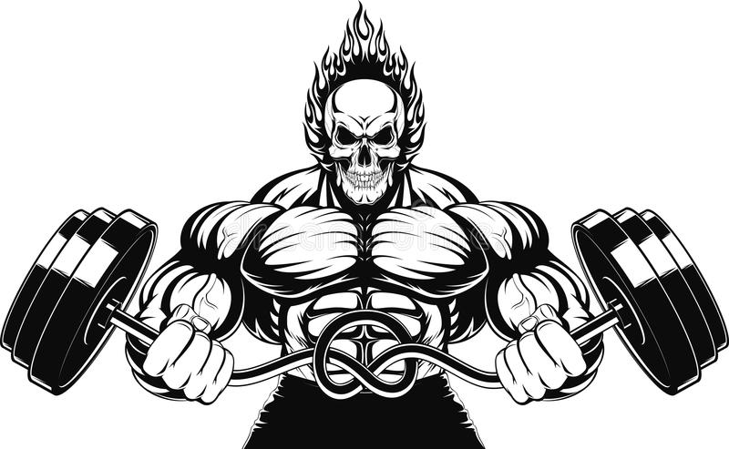 Bodybuilder avec un barbell illustration stock