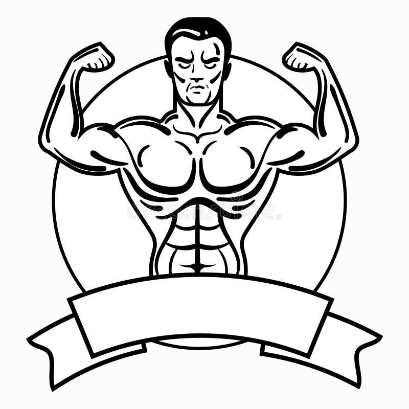 Bodybuilder avec un physique sportif Un homme avec les muscles musculaires Logo noir et blanc d'athlète Emblème de sports Maître  illustration stock